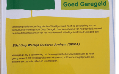"""SWOA ontvangt wederom certificaat """"Vrijwillige Inzet Goed Geregeld"""""""